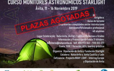 PLAZAS CURSO MONITORES ASTRONOMICOS COMPLETAS